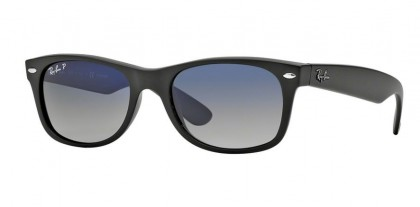 Rayban ICONS 0RB2132 NEW WAYFARER 601S78 Matte Black - Polarized Blue Gradient Grey