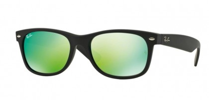 Ray-Ban 0RB2132 NEW WAYFARER 622/19 Rubber Black - Grey Mirror Green