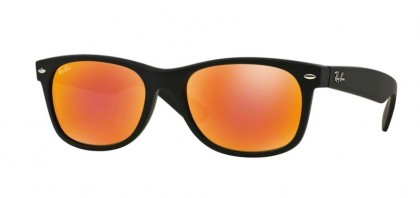 Ray-Ban 0RB2132 NEW WAYFARER 622/69 Rubber Black - Brown Mirror Red