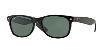 Rayban ICONS 0RB2132 NEW WAYFARER 901/58 Black - Crystal Green Polarized