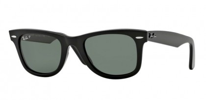 Rayban ICONS 0RB2140 WAYFARER 901/58 Black - Crystal Green Polarized