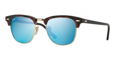 Rayban ICONS 0RB3016 CLUBMASTER 114517 Sand Havana Gold - Grey Mirror Blue