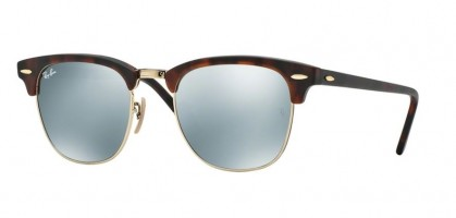 Rayban ICONS 0RB3016 CLUBMASTER 114530 Sand Havana Gold - Light Green Mirror Silver