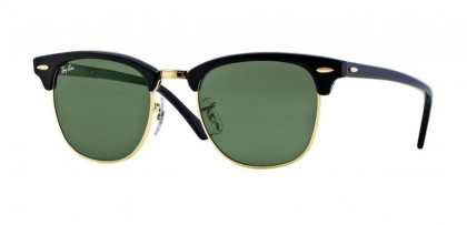 Rayban ICONS 0RB3016 CLUBMASTER W0365 Ebony Arista - Crystal Green