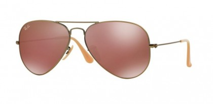 Rayban ICONS 0RB3025 AVIATOR LARGE METAL 167/2K Demiglos Brushed Bronze - Red Mirror