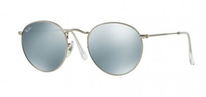 Ray-Ban 0RB3447 ROUND METAL 019/30 Matte Silver - Light Green Mirror Silver