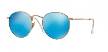 Ray-Ban 0RB3447 ROUND METAL 112/4L Matte Gold - Blue Mirror Polarized