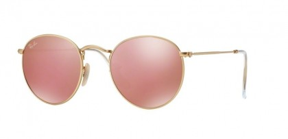 Ray-Ban 0RB3447 ROUND METAL 112/Z2 Matte Gold - Brown Mirror Pink