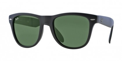 Rayban ICONS 0RB4105 FOLDING WAYFARER 601S Matte Black - Crystal Green