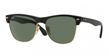 Rayban HIGHSTREET 0RB4175 CLUBMASTER OVERSIZED 877 Demy Shiny Black Arista - Crystal Green