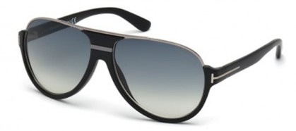 Tom Ford FT0334 02W Matte Black Silver - Grey Blue Shaded
