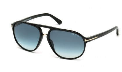 Tom Ford FT0447 01P Shiny Black - Green Blue Shaded