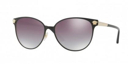 Versace 0VE2168 13776I Matte Black Pale Gold - Clear Gradient Grey Mirror Silver