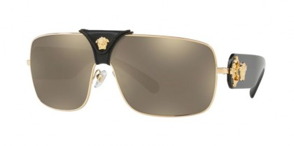 Versace 0VE2207Q SQUARED BAROQUE 1002/5 Gold - Light Brown Mirror Gold