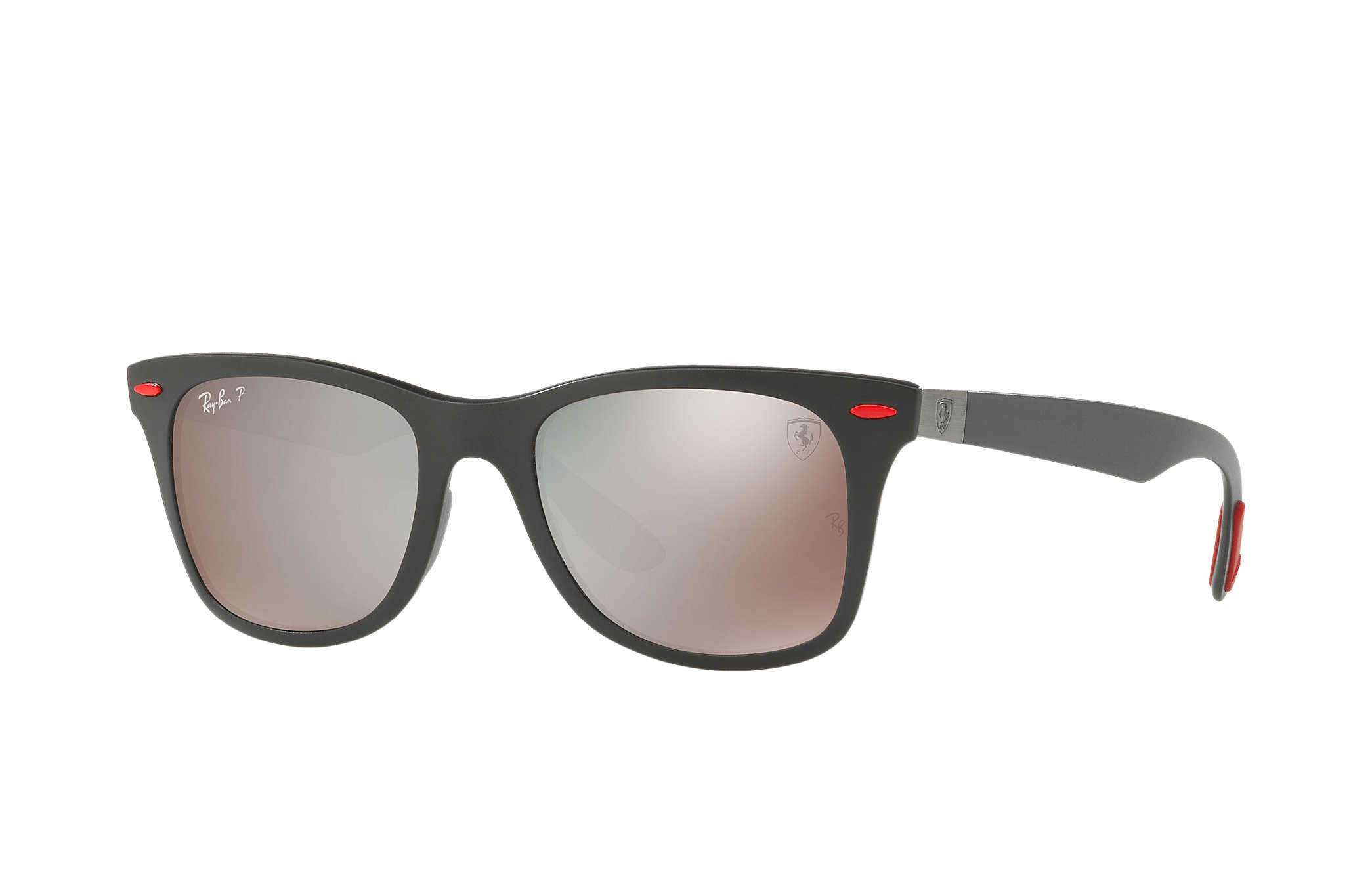 ae310126a4 Ray Ban 0RB4195M SCUDERIA FERRARI COLLECTION F602H2 Black Red - Silver  Mirror Chromance Polarized