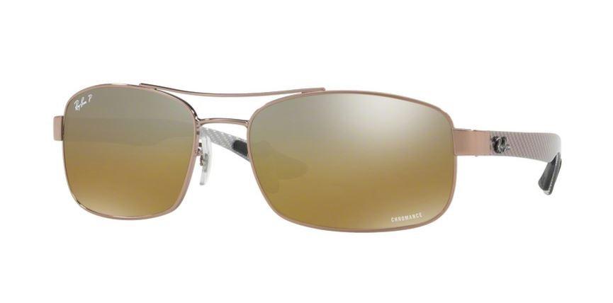 6eca284f4a Ray Ban 0RB8318CH 121 A2 Shiny Light Brown - Brown Mirror Grey Gradient  Polarized