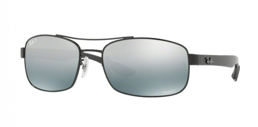 11e7d4caadf Ray Ban 0RB8318CH 002 5L Shiny Black - Blue Mirror Grey Gradient Polarized